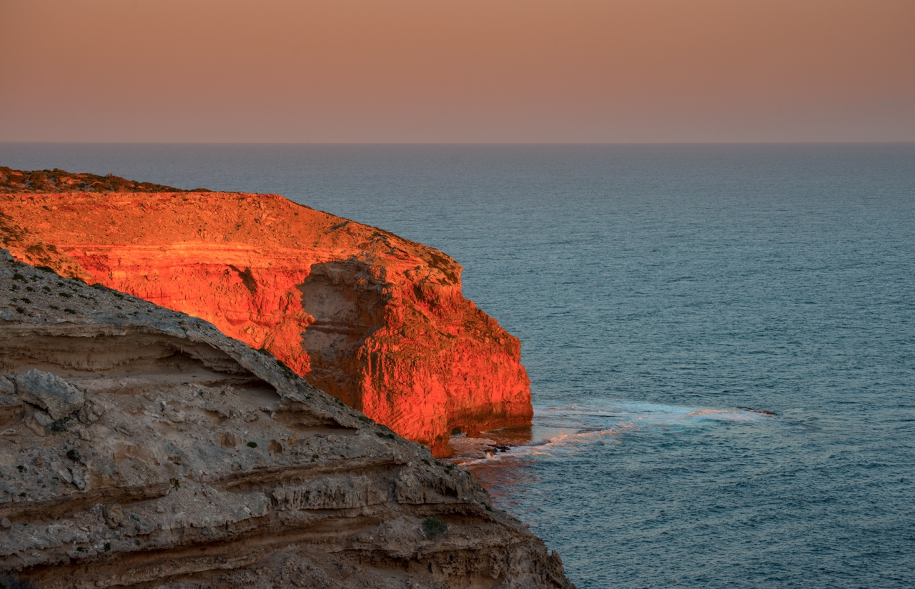 Sunset at Cape Spencer cliffs Yorke Peninsula.