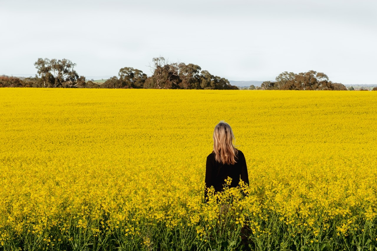 Wendy Philip in canola field.