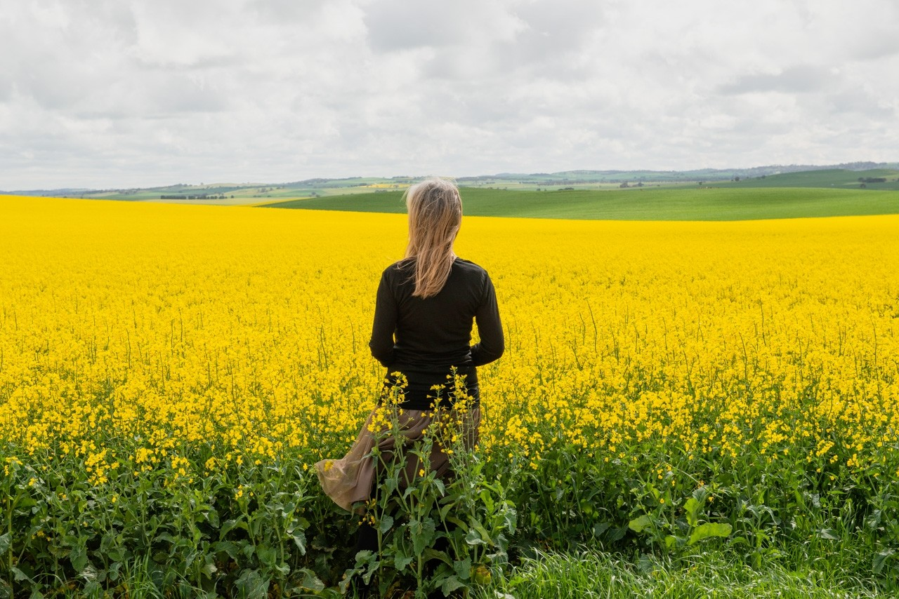 Wendy Philip in canola field