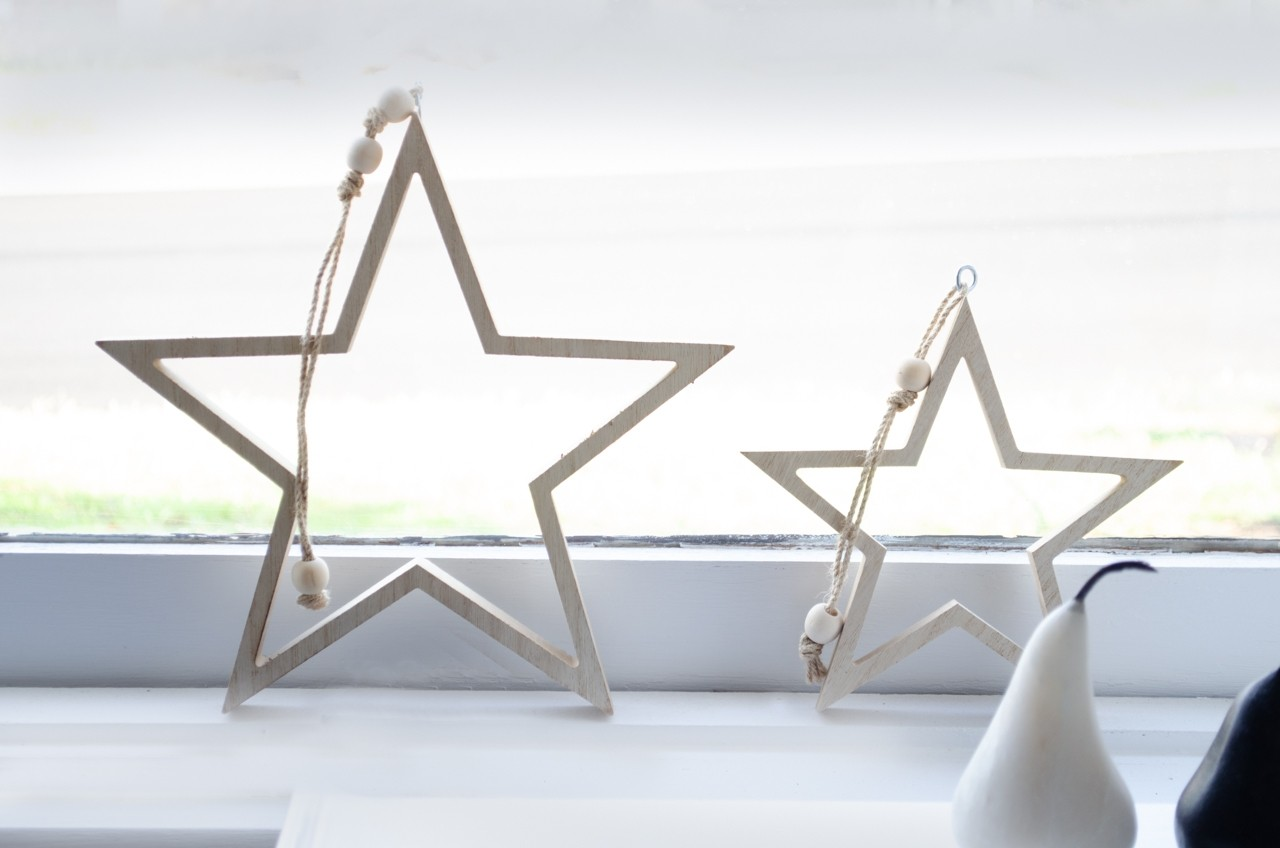 Christmas stars in window
