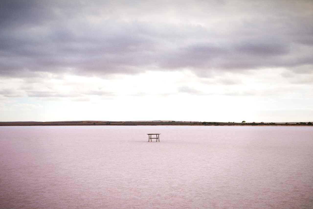 Table in the middle of Lake Bumbunga, South Australia.